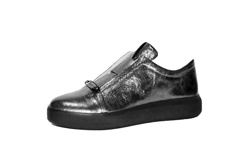 290ef92d9 Слипоны женские Discount Shoes 114 Черная подошва, платиновый верх ...