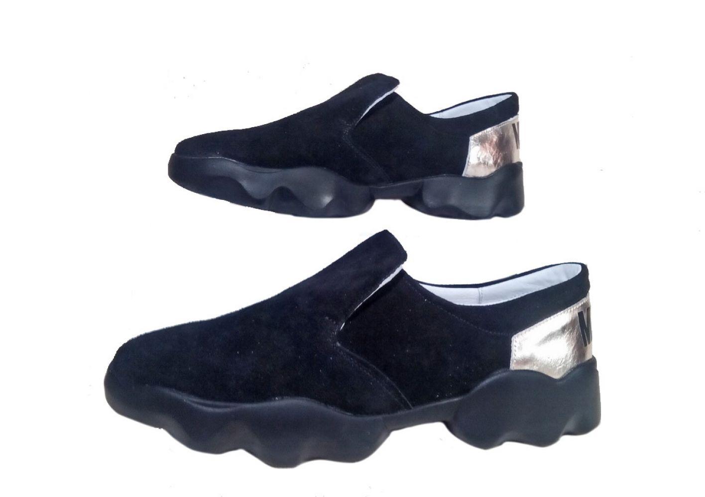 319647685 Слипоны женские Discount Shoes MKS Черная подошва, черный верх ...