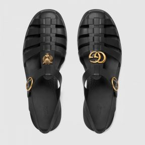 Gucci Rubber Buckle Strap Sandal Black