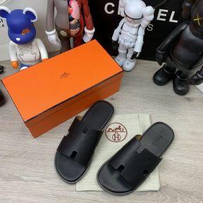 Hermes Izmir Sandals Leather Black