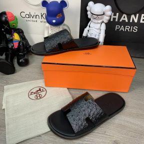 Hermes Izmir Sandals Leather Ostrich Black