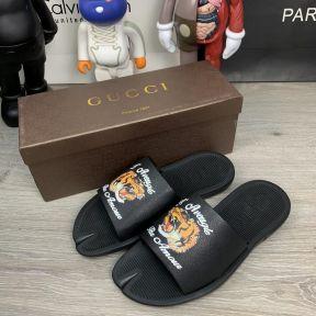 Gucci GG Supreme Tigers Slide Sandal Black