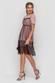 Платье-двойка с кружевом Есения TessDress цвет черны+пыльная роза