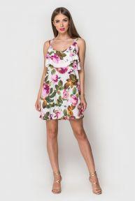 Платье Яна TessDress цвет белый+принт крупные цветы
