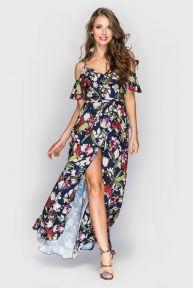Платье Фёкла TessDress цвет темно-синий+принт ирисы