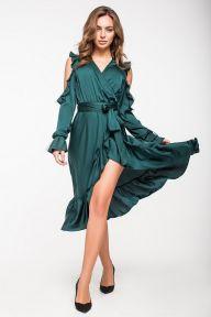 Нарядное шелковое платье изумрудного цвета Катрин It Elle 5137