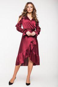 Нарядное шелковое платье бордового цвета Катлин It Elle 5136