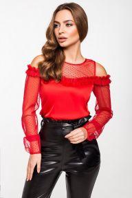 Шелковая красная блуза с рукавами из сетки в горох Ангел It Elle 2196