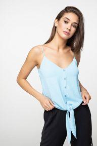 Голубой топ с завязками на талии из льняной ткани Барбара It Elle 8145