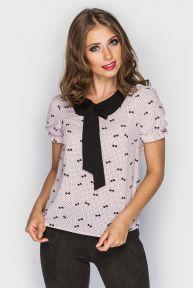 Блуза с коротким рукавом «Бантик» TessDress цвет розовый+принт