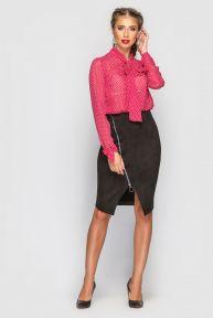 Блуза с бантом Чезанна-2 TessDress цвет красный+горох