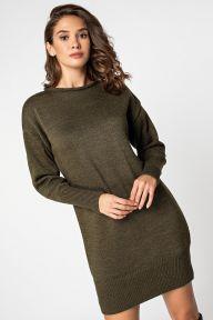 Вязаное платье-туника цвета хаки Полина It Elle V51106