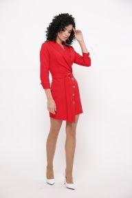 Силуэтное платье с кнопками на запах Париж TessDress цвет красный