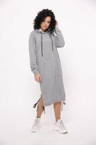 Тёплое спортивное платье-кенгуру «Семмина» TessDress цвет серый