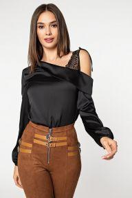 Черная шелковая блуза с плечом из гипюра Сара It Elle 21182