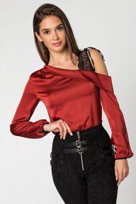 Терракотовая шелковая блуза с плечом из гипюра Роза It Elle 21184