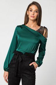 Шелковая изумрудная блуза с плечом из гипюра Рози It Elle 21185