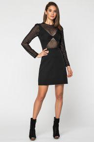 Черное нарядное платье с рукавами из сетки Анабелла It Elle 51122