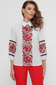 Красные цветы блуза Жули 3/4 белый Glem p54858
