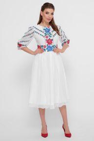 Цветы-орнамент платье Сария 3/4 белый Glem p55543