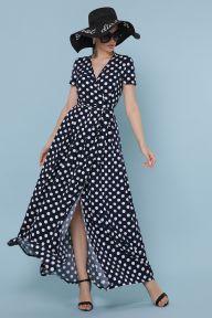 Платье Шайни к/р синий - белый горох Glem p49221