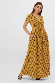 Платье Шайни к/р горчица-черный горох с. Glem p57565