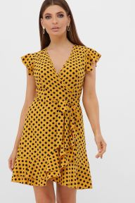 Платье София б/р горчица-черный горох с. Glem p57536