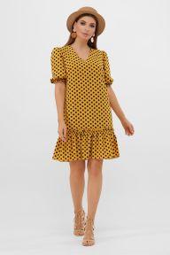 Платье Мальвина к/р горчица-черный горох с. Glem p57564