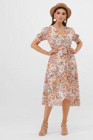 Платье Алеста к/р бежевый-цветы оранж. Glem p57659