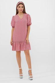 Платье Мальвина к/р т.розовый-белый горох с. Glem p57563