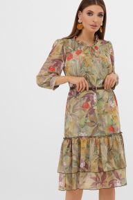 Платье Элисон 3/4 оливка-цветы-листья Glem p57624