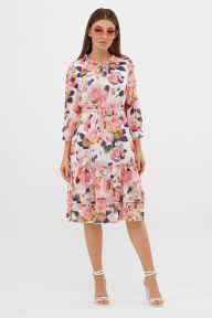 Платье Элисон 3/4 белый-розы Glem p57621