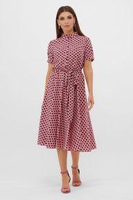 Платье Изольда-Б к/р розовый-черный горох с. Glem p57556