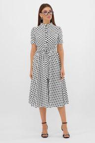 Платье Изольда-Б к/р молоко-черный горох с. Glem p57559