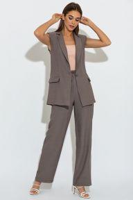 Летний брючный костюм с удлиненным жилетом цвета табак Дороте It Elle 3082