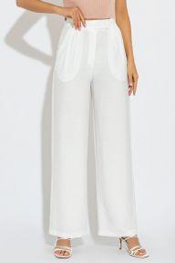 Летние белые брюки из льняной ткани Ирен It Elle 4158