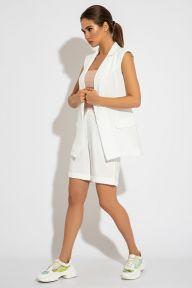 Летний костюм с жилетом и шортами-бермудами белого цвета Кэтрин It Elle 3073