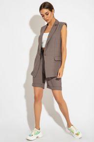 Летний костюм с жилетом и шортами-бермудами цвета табак Лор It Elle 3074