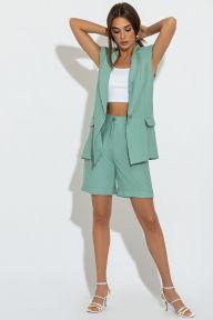Летний костюм с жилетом и шортами-бермудами мятного цвета Кристиан It Elle 3080