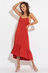 Летний красный длинный сарафан Лулу It Elle 51190