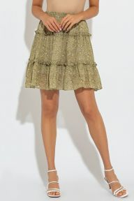 Летняя шифоновая зеленая юбка полусолнце Марин It Elle 6169