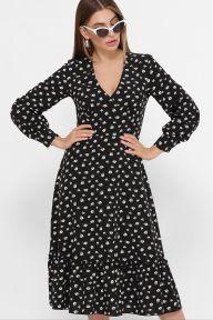 Платье Данита д/р черный-белый м.цветок Glem p61423