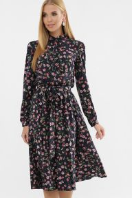 Платье Изольда д/р т.синий-розов.м.цветок Glem p63309