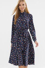 Платье Изольда д/р синий-оранж.м.цветок Glem p63308