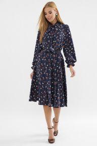 Платье Дельфия д/р синий-оранж.м.цветок Glem p63305