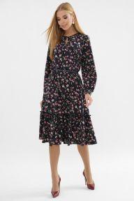 Платье Агафия д/р т.синий-розов.м.цветок Glem p63304