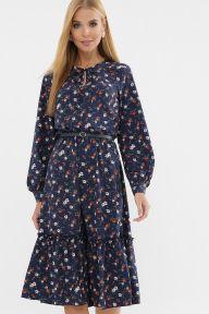 Платье Агафия д/р синий-оранж.м.цветок Glem p63303