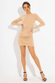 Короткое бежевое платье с драпировкой Элиса It Elle 51220
