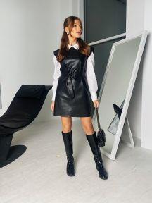 Черный кожаный сарафан Милена It Elle 51241