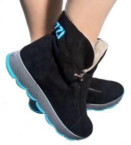 Спортивные женские ботинки Ditas Черный верх, черно-бирюзовая подошва, подкладка - искуственный мех